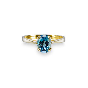 Ovular 8x6 with Swiss Blue Topaz